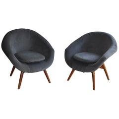 Vintage Velvet Chairs by Miroslav Navratil 1950s Set of 2
