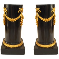 Pair of French Empire Black Lacquer Pedestals