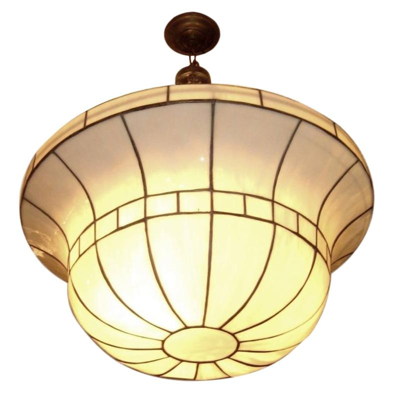 Set of large leaded glass light fixtures sold individually for sale at 1stdibs