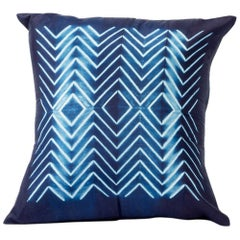 Classic Artisan-Made NAAMI Silk Pillow In Indigo Shibori Print