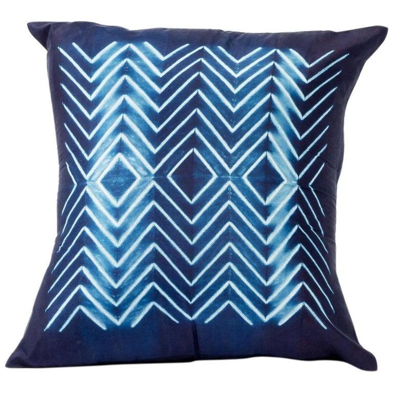 NAAMI Color Block Shibori Silk Pillow in Indigo For Sale