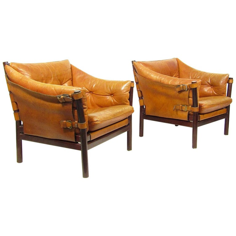 "Two Swedish 1960s ""Ilona"" Safari Chairs by Arne Norell For Sale"