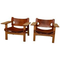 "Set of 2 Børge Mogensen ""Spanish Chair"" 1960s Fredericia Furniture, Denmark"