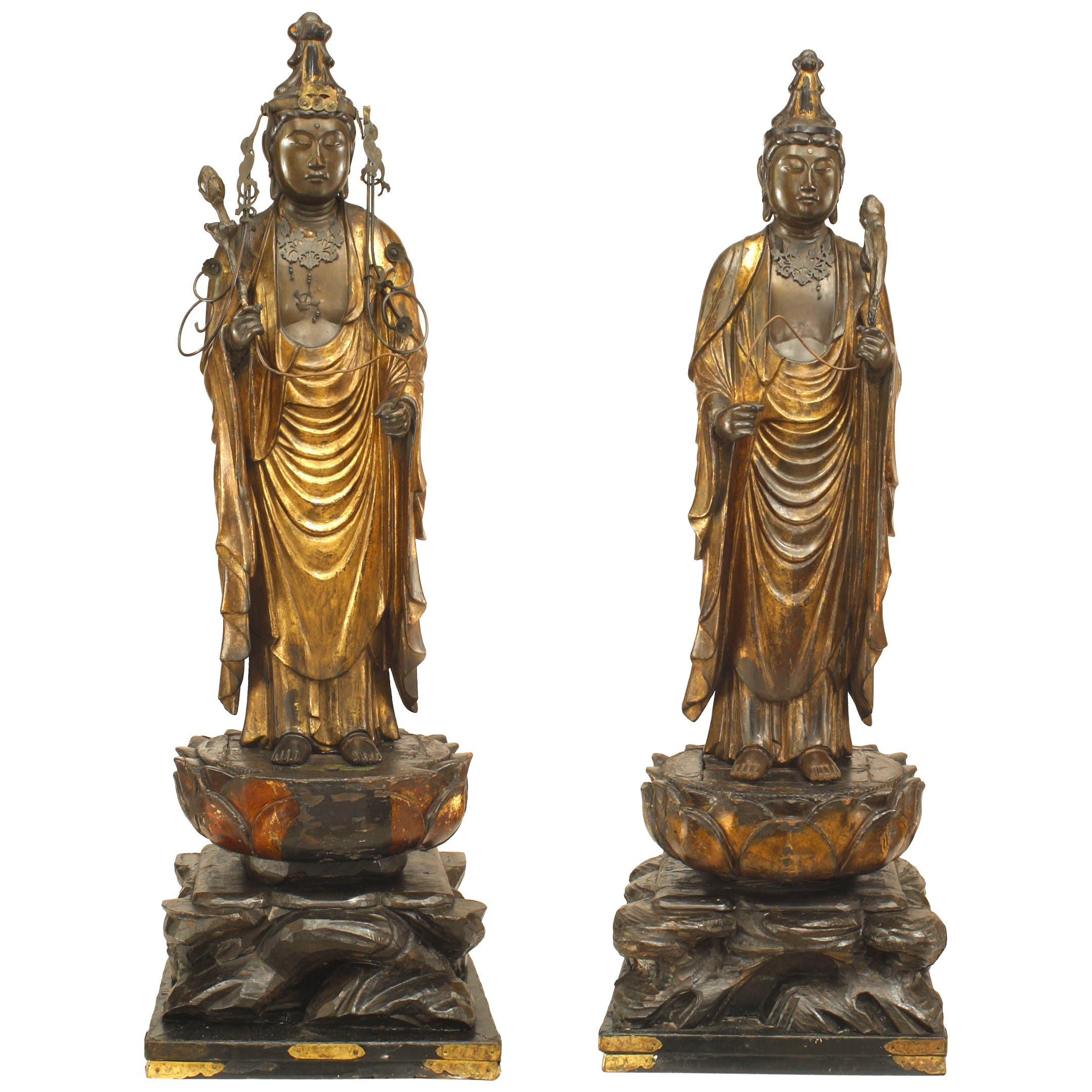 Pair of Asian Chinese Style Gilt Diety / Priest Figures
