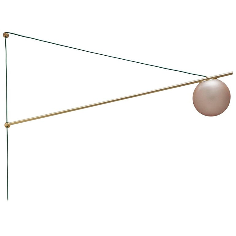 Iso Sconce Light in Brass Finish and Color Wash Globe – Large, 1st Dibs New York For Sale