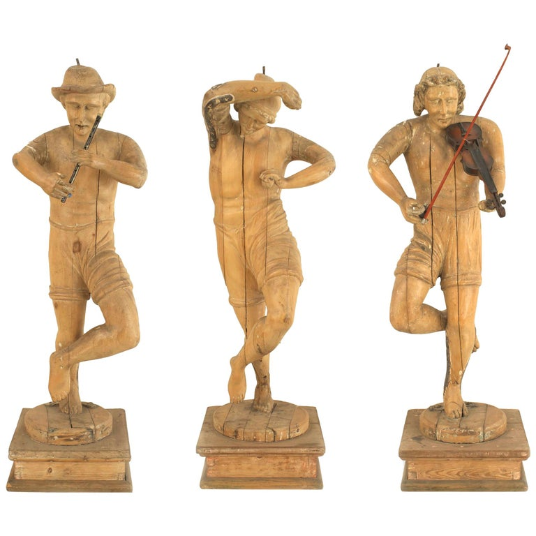 Set of 3 Italian Renaissance Musical Figures For Sale