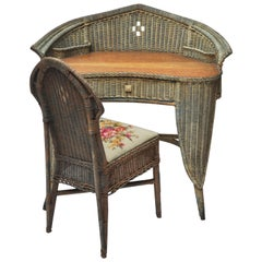Wicker and Rattan Secretary Writing Desk with Matching Chair