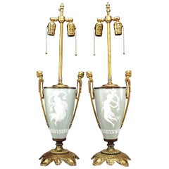 Pair of French Victorian Porcelain Urn Table Lamps