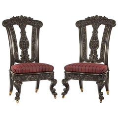 Pair of Ceylonese Solid Ebony Hall Chairs