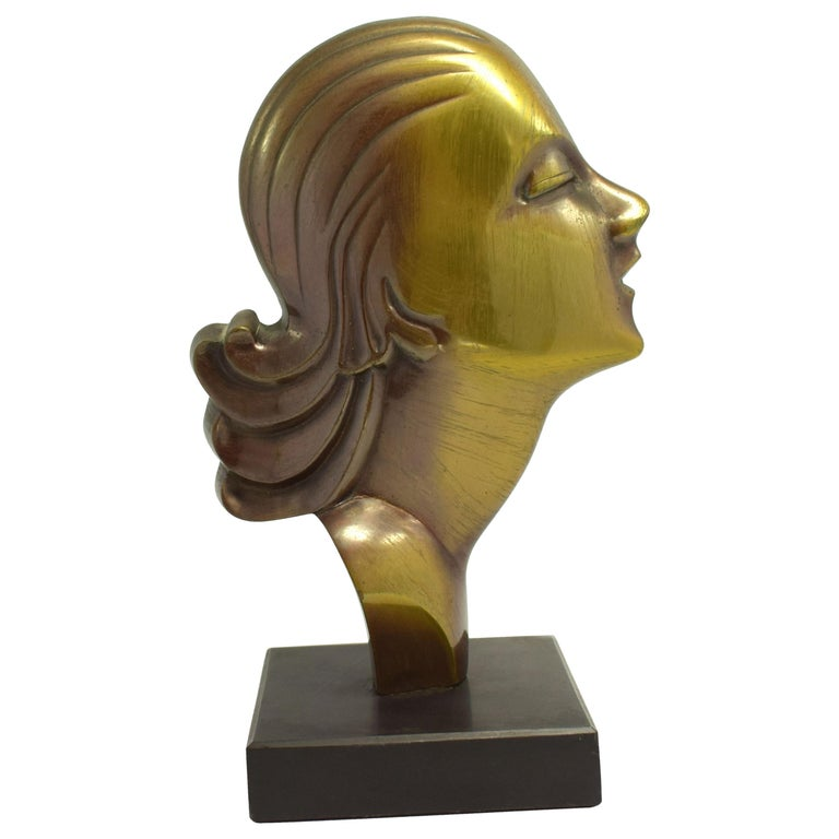 Highly Styled French Brass Art Deco Bust, French, circa 1930 For Sale