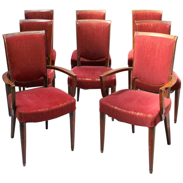 Set of 8 Fine French Art Deco Dining Chairs by Jules Leleu For Sale