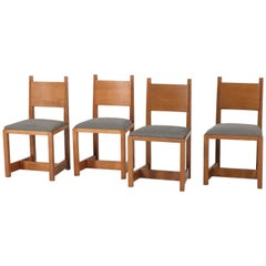 Set of Four Oak Art Deco Haagse School Chairs by H. Wouda for Pander, 1924