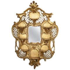 Italian Rococo Style Carved Giltwood Mirror, 19th Century