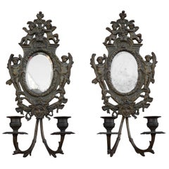 Antique Pair of Bronze Wall Sconce Candelabras w. Mirrors, Angels & Medusa Masks