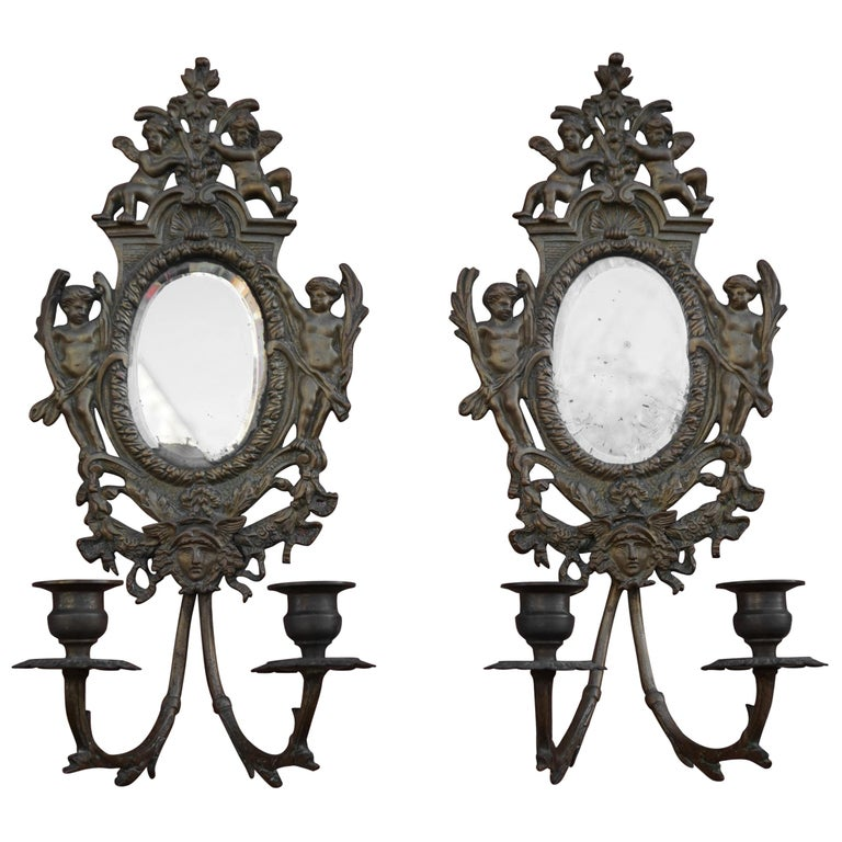 Antique Pair of Bronze Wall Sconce Candelabras w. Mirrors, Angels & Medusa Masks For Sale