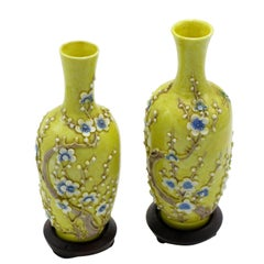 Antique Pair of Chinese Yellow Ground Porcelain Miniature Vases