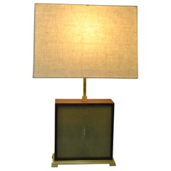 Modern Walnut and Shagreen Table Lamp