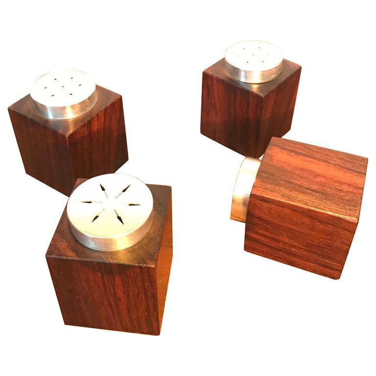 Midcentury Salt and Pepper Shakers in Sterling Sliver For Sale