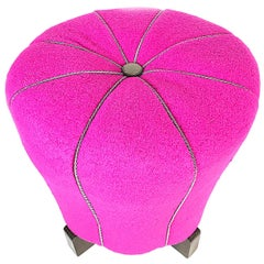 Art Deco Magenta Jindrich Halabala Pouf Stool, Sheep Wool, 1930s, Czech