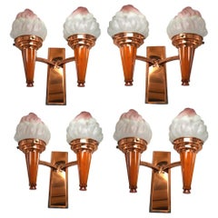 Set of Four Art Deco Matching Flame Wall Light Sconces, circa 1930