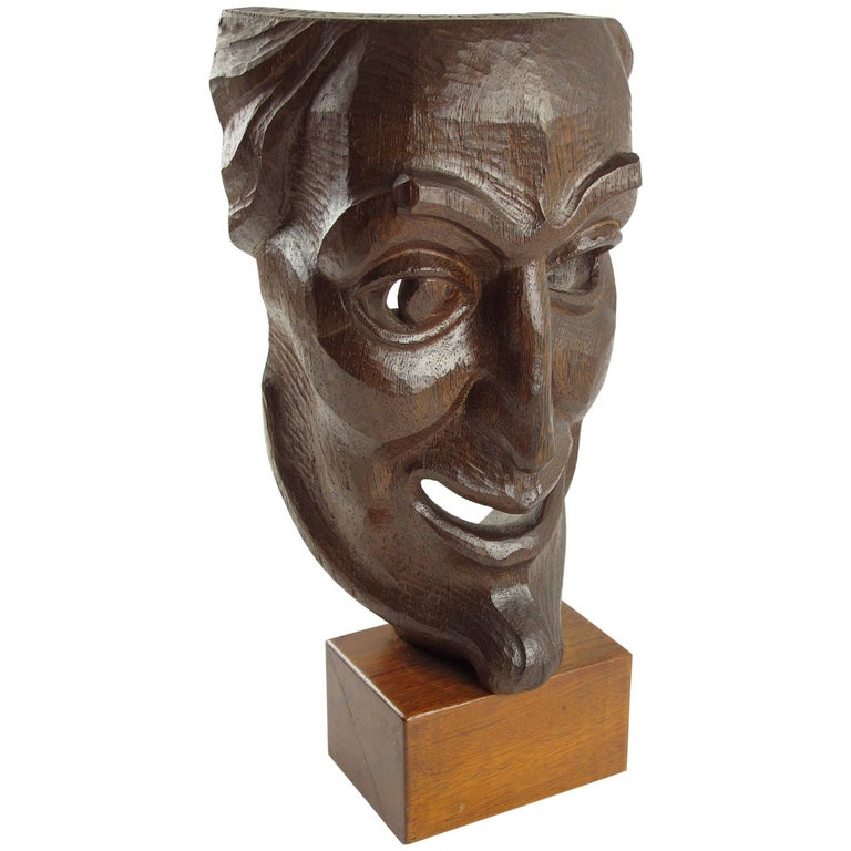 Tall Hand Carved Palm Wood Grotesque Mask Sculpture Signed and Dated For Sale