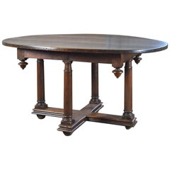 French Early 17th Century Henry IV Oval Walnut Center or Dining Table