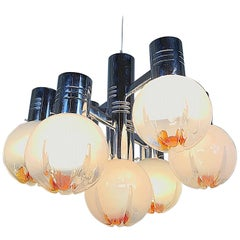 Space Age Mazzega Sputnik Chandelier, Textured Murano Glass, 1970s, Italy
