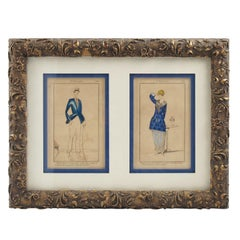 1920s French Colored Fashion Print Les Annees Folles Framed