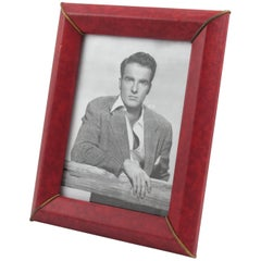 French 1960s Red Vinyl Leather Picture Photo Frame with Brass Accents