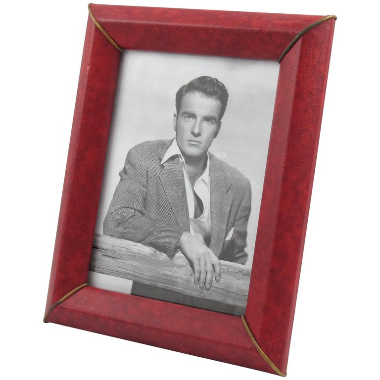 French 1960s Red Vinyl Leather Picture Photo Frame with Brass Accents For Sale