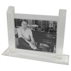 1980s Italian Design Large Clear Lucite Picture Photo Frame