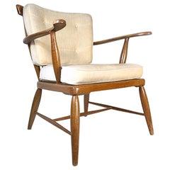 Midcentury Anna-Lülja Praun Walnut Wood Lounge Chair, 1950s, Austria