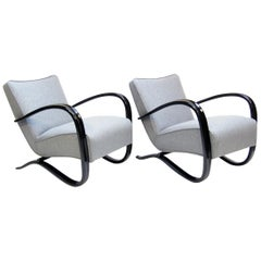 "Pair of ""H 269"" Art Deco Lounge Chairs by Jindrich Halabala"