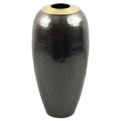 Art Deco Ovoid Hammered Copper and Brass Dinanderie Vase