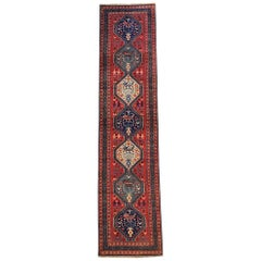 Persian Hand Knotted Ardabil Tribal Salmon Blue Runner, circa 1960