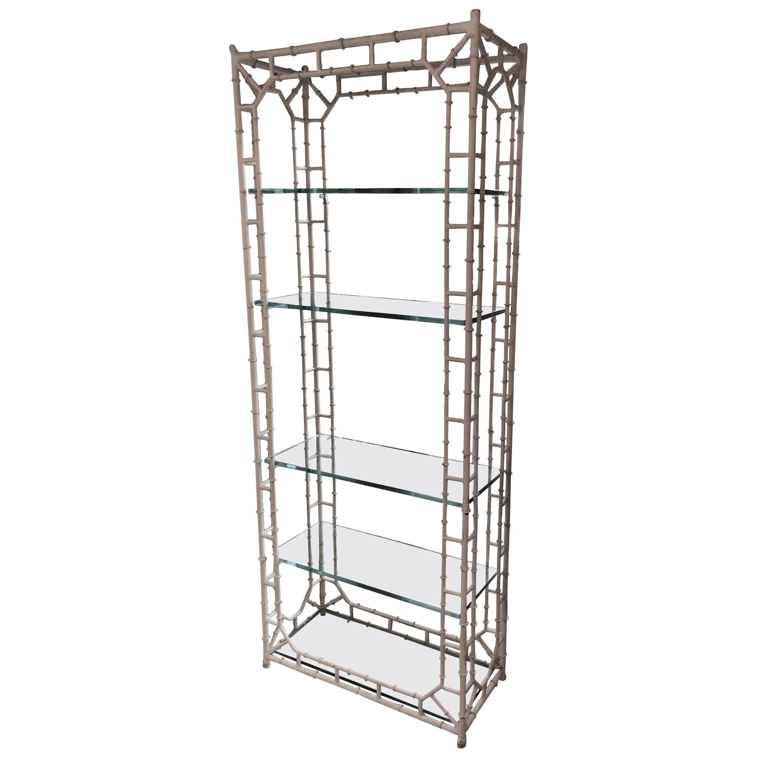 White Faux Bamboo Étagère with Glass Shelves
