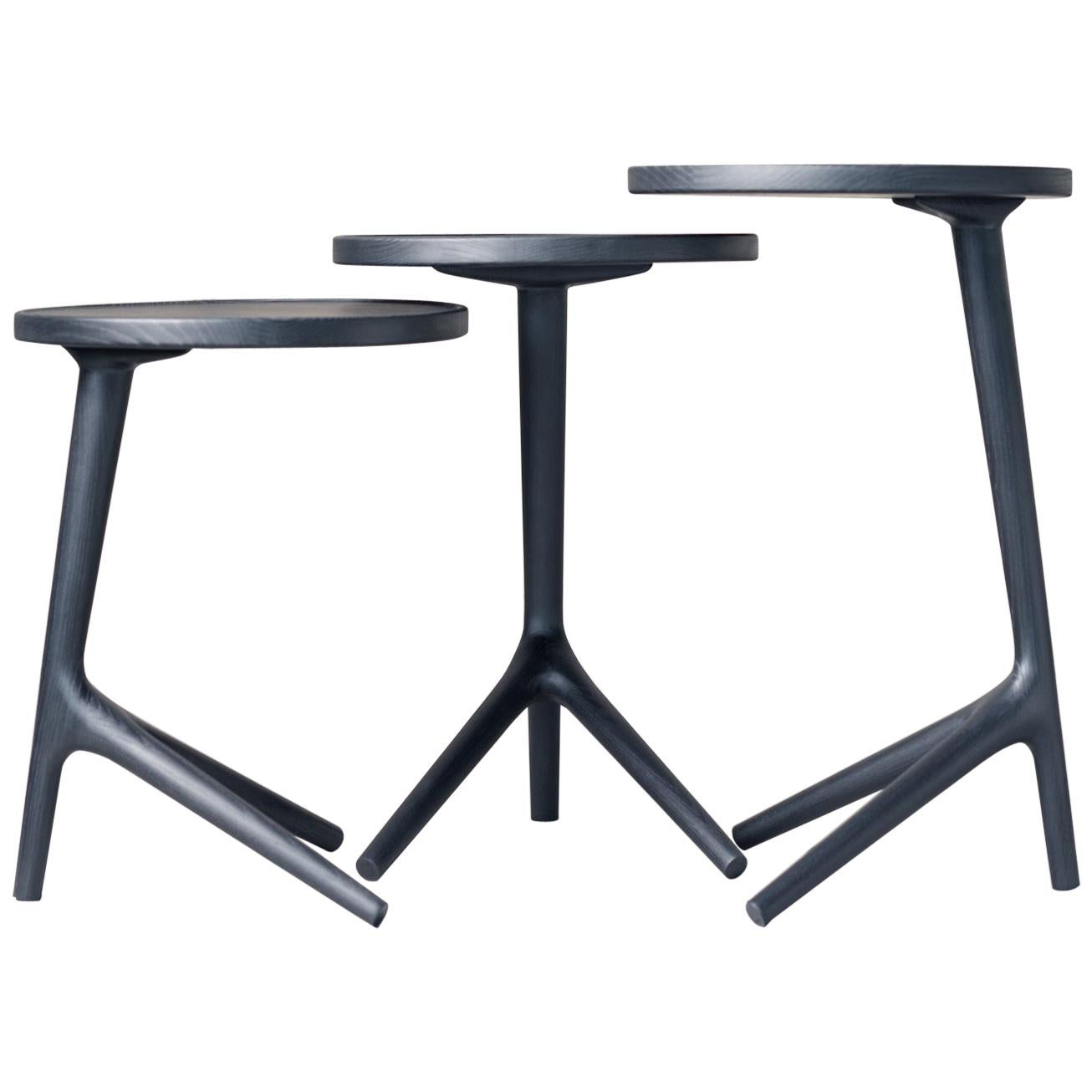 "Tripod Table in Black Ash (Tall: 25"") Accent Nesting Table - Fernweh Woodworking"