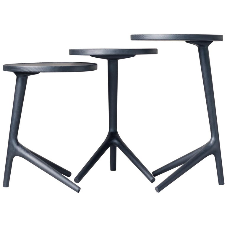 """Tripod Table in Black Ash (Tall: 25"""") Accent Nesting Table - Fernweh Woodworking For Sale"""