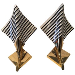 Set of Gilten Metal and Striped Glass Sconces Murano Style