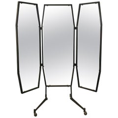 Italian Trifold Mirror on Casters
