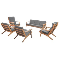 Impressive Hans J. Wegner Living Room Set in Oak and Grey Fabric