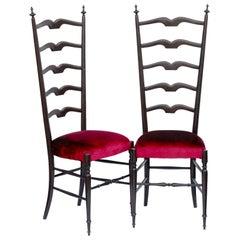 Paolo Buffa, Pair of Chiavari Hall Side Chairs, Restored, French Polish, Velvet