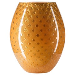 Oval Vase Mocenigo, Muranese Glass, Gold 24-Karat and Orange, Italy