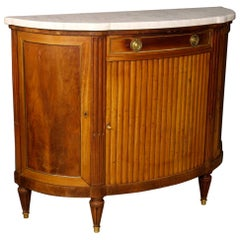 20th Century Mahogany with Marble Top Louis XVI Style French Demilune Sideboard