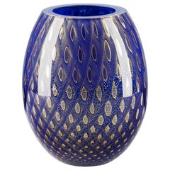 Oval Vase Mocenigo, Muranese Glass, Gold 24-Karat and Blue, Italy