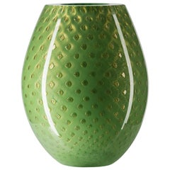 Oval Vase Mocenigo, Muranese Glass, Gold 24-Karat and Light Green, Italy