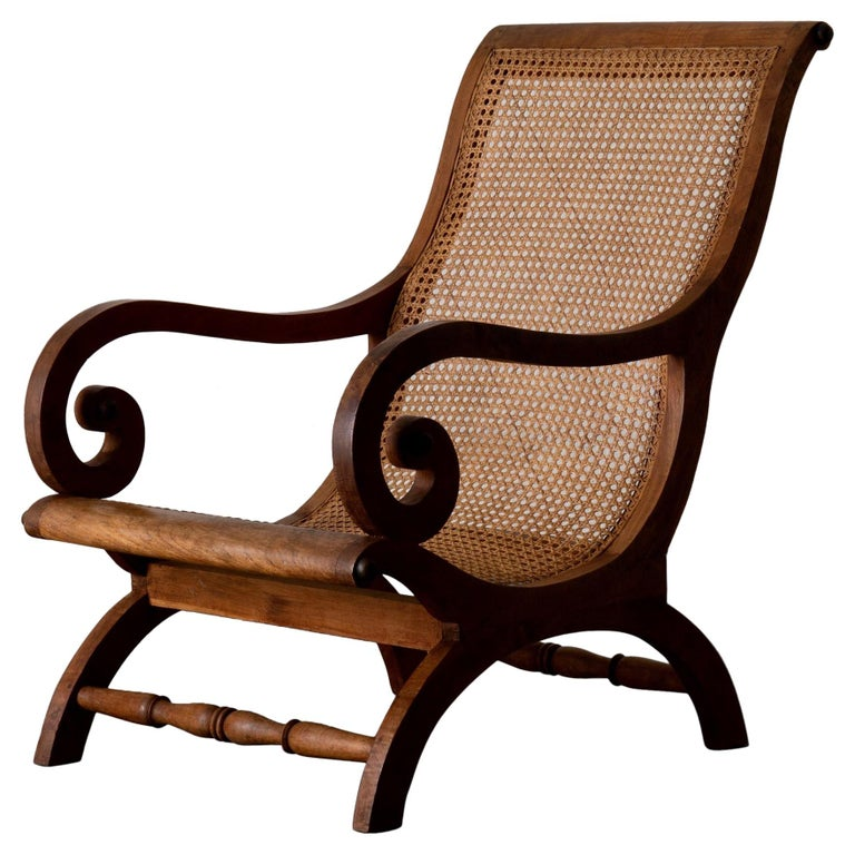 Chair Lounge Swedish 20th Century Wood Rattan, Sweden For Sale
