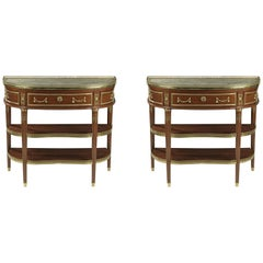 Pair of Louis XVI Mahogany Console Tables by Fidelys Schey, circa 1780