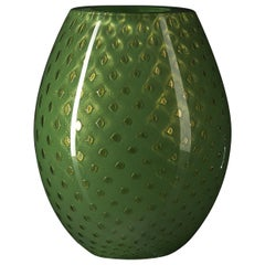 Oval Vase Mocenigo, Muranese Glass, Gold 24-Karat and Dark Green, Italy