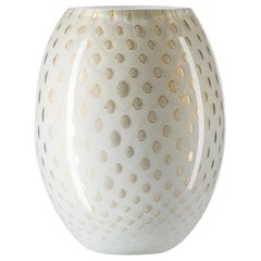 Oval Vase Mocenigo, Muranese Glass, Gold 24-Karat and White, Italy
